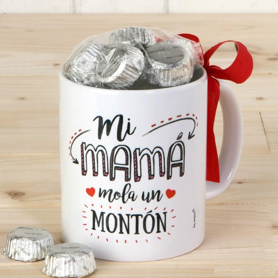 Taza de cerámica Mi Mamá mola con 6 bombones